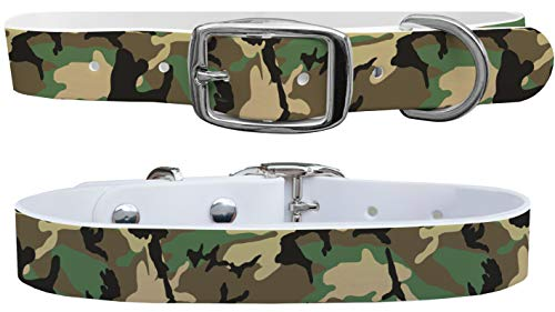C4 Dog Collars Khaki Camo Pattern - for Boy & Girl Dogs Sizes Small, Medium, Large and X-Large - Metal Buckle (X-Large - Fits Neck Size 22