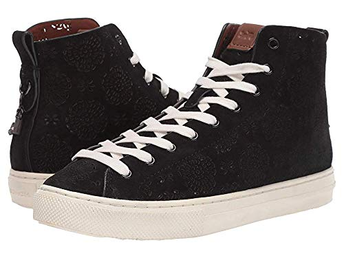 Coach Women's C216 High Top with Cut Out Tea Rose - Suede Black 6 B US (Tops Coach High)