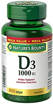 Nature's Bounty Vitamin D3 Pills and Supplement, Helps in development of bones and teeth, 1000iu, 500 Soft