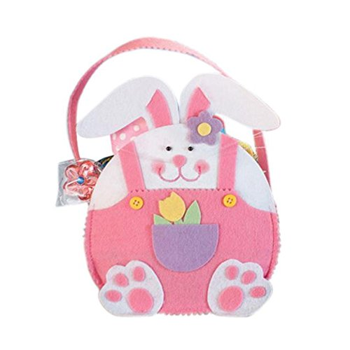 Finedayqi  Easter Rabbit Gift Candy Bag Creative Present Home Accessory (Pink)