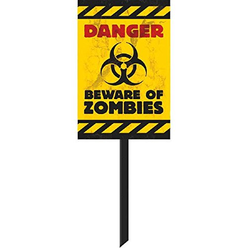 [Amscan Zombie Yard Sign Halloween Trick or Treat Party Outdoor Decoration, Yellow, 15