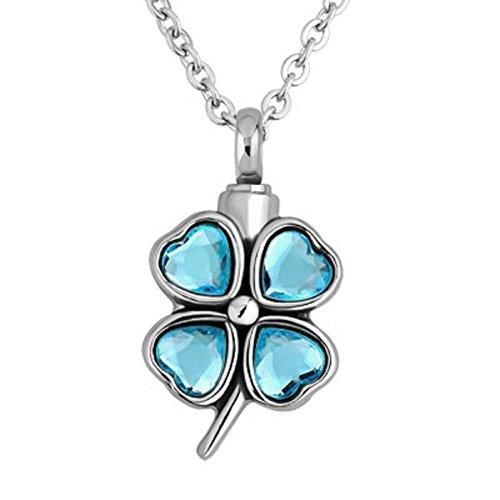 JewelryHouse Cremation Urn Memorial Ash Keepsake Lucky Four-leaf Clover Stainless Steel Pendant Neckalce (Blue)