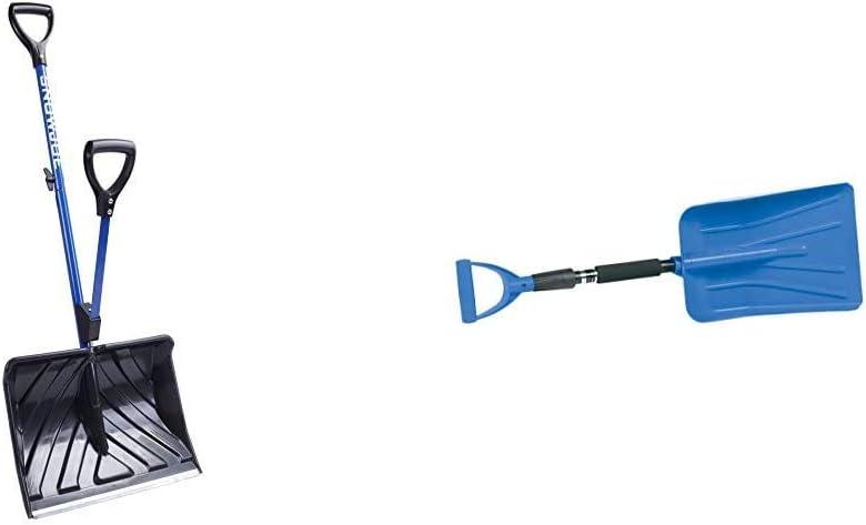 Snow Joe SJ-SHLV01 Shovelution Strain-Reducing Snow Shovel | 18-Inch | Spring Assisted Handle & Hopkins 17211 Subzero Auto Emergency Snow Shovel with Extendable Handle (Colors May Vary)