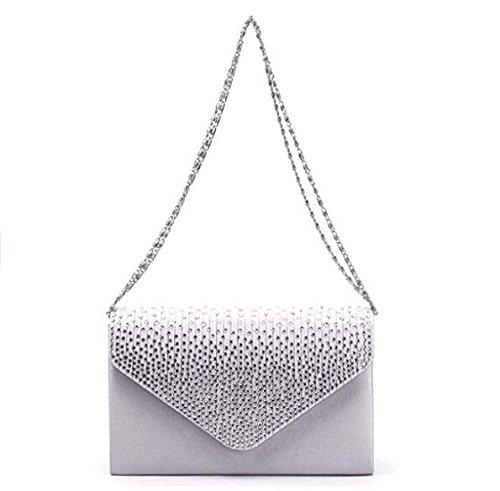 strass à Silver sac Umhaengetasche de embrayage soirée dames Satin main sac navdwB0nq