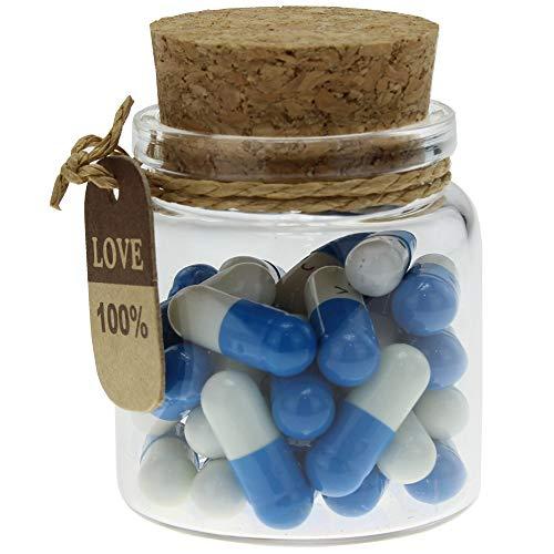 (INFMETRY Capsule Letters Message in a Bottle Glass Favor Bottle (Dark Blue 25pcs))