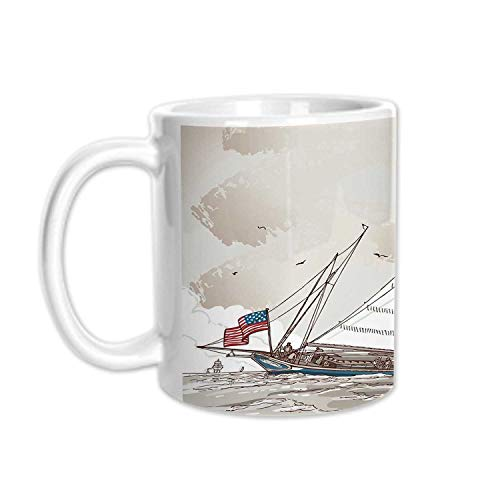 Vintage Stylish White Printed Mug,Illustration of a Retro View of Antique American Yacht with Flags Ocean for Living Room Bedroom,3.1