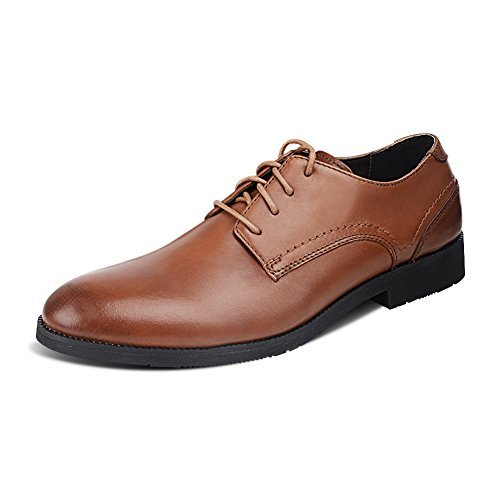 Men's Formal Modern Genuine Leather Lace Up Pointed-toe Oxfords Dress Shoes (10, Brown)