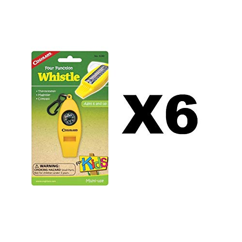 Coghlan's Four Function Whistle for Kids Yellow Thermometer Magnifier (6-Pack) ()