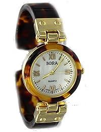 Women's Tortoise Gold Tone Bangle Cuff Watch