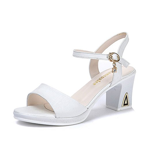 Peep Chanclas Alto Bajos Sandalias heelsWomen Verano Zapatos LI BAJIAN Sandalias Toe señoras Zapatos wS1qRvax