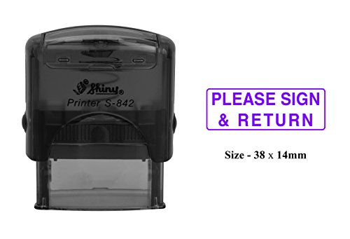 (PLEASE SIGN & RETURN Self Inking Rubber Stamp Custom Shiny S-842 Office Stationary)