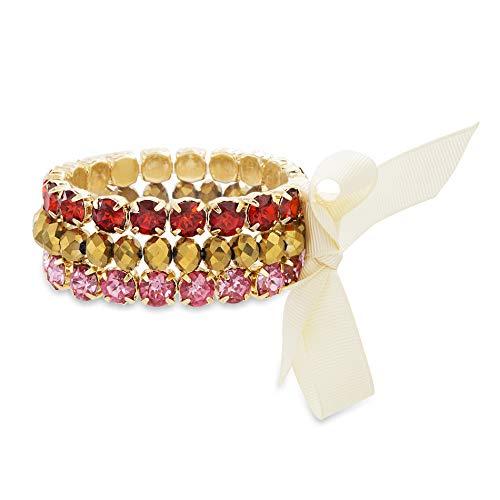 (Catherine Malandrino Round Rhinestone and Ribbon Trio Yellow Gold -Tone Bracelet Set for Women (Red/Pink))