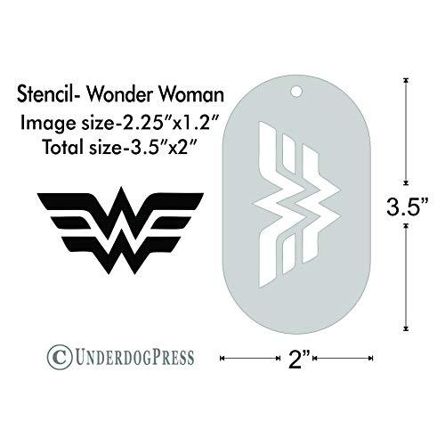 Stencil - Wonder Woman logo, Image Size 2.25x1.2 on 3.5x2 Border from Underdog Press