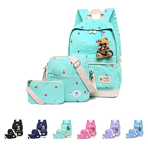 Casual Daypack Cotton Canvas School Backpack Shoulder Bag for Kids Girls Boys-Black Green-11