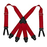 CTM Men's Elastic Button-End 2 Inch Fireman Suspenders, Red
