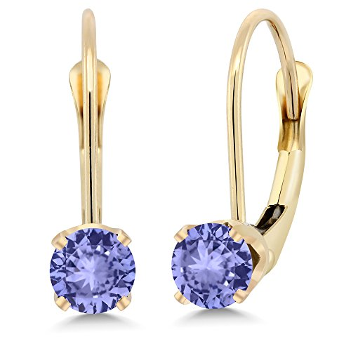 Gem Stone King 14K Yellow Gold 0.60 Ct Round Blue Tanzanite Leverback Earrings - Gold Tanzanite Earrings