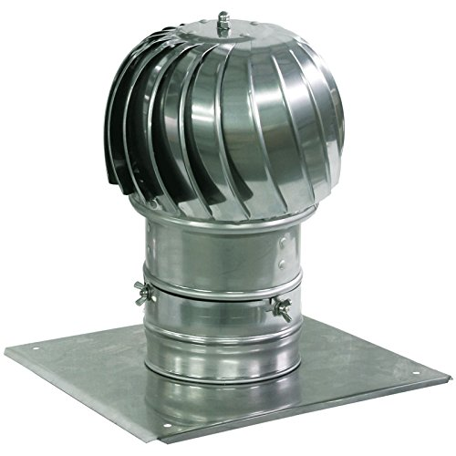Spinning Chimney Cowl Aluminum Flue Ventilation with Extra Roof Plate 130mm by Spiroflex