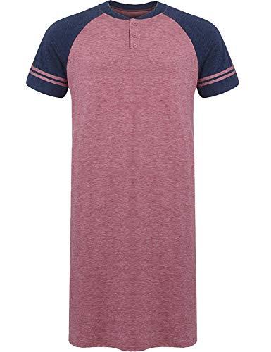 (Skylin Men's Henly Plus Size Big & Tall Sleep Shirt Nightgown Short Pajama Nightshirt (Red,)