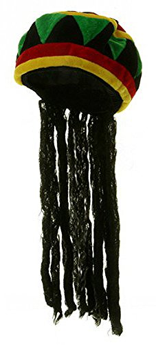 Jamaican Wig (Rhasta Dreds Reggae Soft Jamaican Bob Marley Hat Cap One Size)