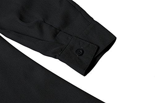 de Longue Mini Fluide Mousseline Chic Blouse Longue Noir Robe Femme de Soie Classique Aitos Chemisier Chemise Elegante Manches Awz0PPq
