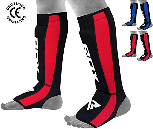 Mma Shin Instep Guards - RDX Shin Guard Neoperene MMA Instep Pads Leg Muay Thai Boxing Training Protective Gear Kickboxing (CE Certified by SATRA)