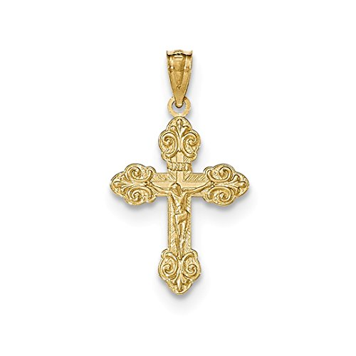 ICE CARATS 14kt Yellow Gold Inri Small Crucifix Cross Religious Pendant Charm Necklace Fine Jewelry Ideal Gifts For Women Gift Set From Heart (New 14kt Yellow Gold Cross)