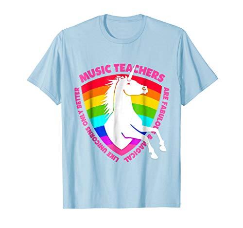 Mens Music Teacher Unicorn T-Shirt Kindergarten & High School Medium Baby Blue