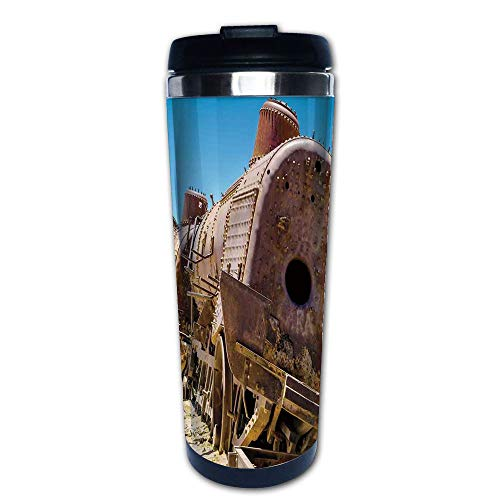 lated Coffee Travel Mug,Train Locomotive Cemetery Railroad Wreck Picture,Spill Proof Flip Lid Insulated Coffee cup Keeps Hot or Cold 13.6oz(400 ml) Customizable printing ()