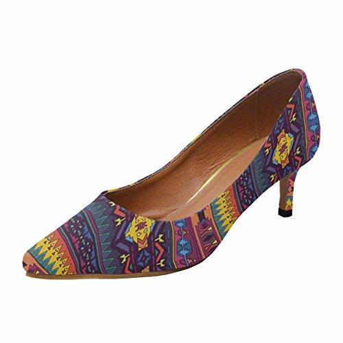 Kitten Bright Pump Dress Shoes Pattern InterestPrint Heel Low Multi Geometric Toe Pointed in 1 Aztec Womens Colors Oqw0UxwE