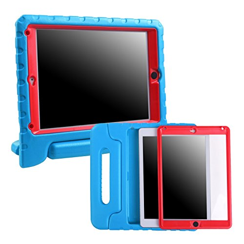 HDE iPad Mini 1 2 3 Bumper Case for Kids Shockproof Hard Cover Handle Stand with Built in Screen Protector for Apple iPad Mini 1st 2nd 3rd Generation (Blue Red)