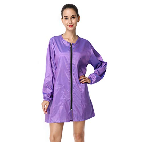 Exttlliy Chameleon Fabric Salon Smock Professional Stylist Jacket Waterproof Haircut Cape Barber Apron (L code) (Violet)