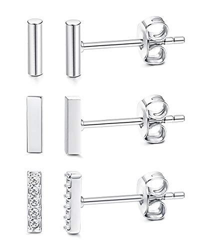 Sllaiss 3 Pairs Sterling Silver Mini Bar Stud Earring for Women Men Flat CZ Line Stick Earrings Set Hypoallergenic