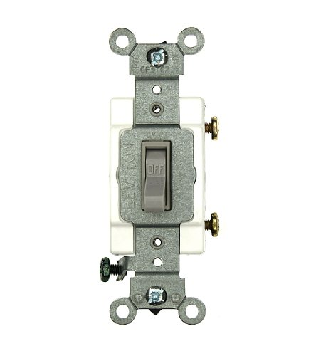 Amp, 120/277 Volt, Toggle Framed Single-Pole AC Quiet Switch, Commercial Grade, Grounding, Gray ()