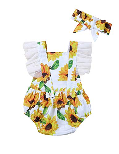 Yiner Newborn Infant Baby Girl Clothes Ruffled Sunflower Bodysuit Romper and Headband -
