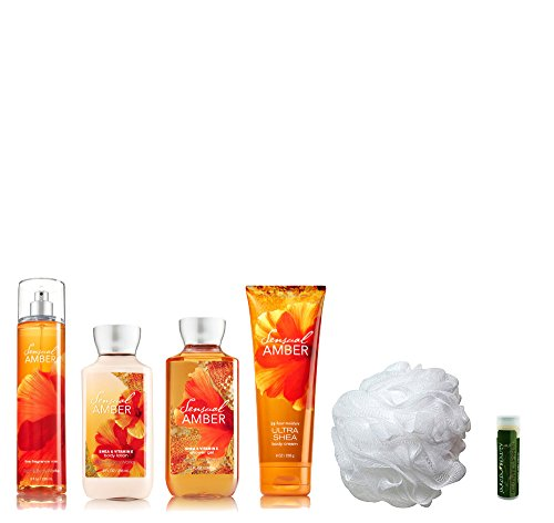 Deluxe Gift Set Shea Butter - SENSUAL AMBER Bath & Body Works Luxury 6 Piece Gift Set of Fragrance Mist, Body Lotion, Shower Gel, Ultra Shea Cream & Shower Puff with a Jarosa Bee Organic Peppermint Lip Balm by Jarosa Gifts