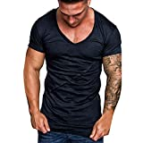 iLXHD Men's Short Sleeve Pure Color Striped Pattern Casual Fashion Lapel Short Sleeve Shirt Dark Blue