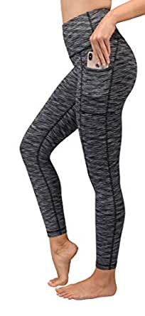90 Degree by Reflex High Waist Tummy Control Interlink Squat Proof Ankle Length Leggings - Ash Charcoal Space Dye - XS