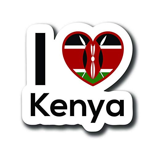 One 5 Inch Decal Love Kenya Flag Decal Sticker Home Pride Travel Car Truck Van Bumper Window Laptop Cup Wall MKS0104