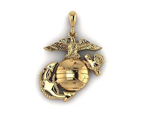 10K Yellow Gold 1 Inch Marine Corps Eagle Globe and Anchor -