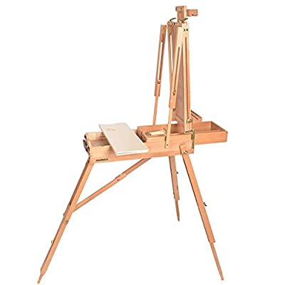 TUHUA Easel Box, Portable Folding Art Easel Tripod Solid Wood Sketch Artist Painters Craft with Handle for Outdoor Oil Painting, Gouache, Sketching