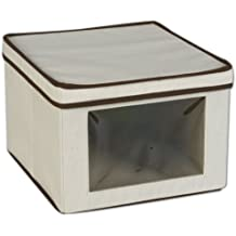 Household Essentials 512 Vision Storage Box - Natural Canvas with Brown Trim - Medium