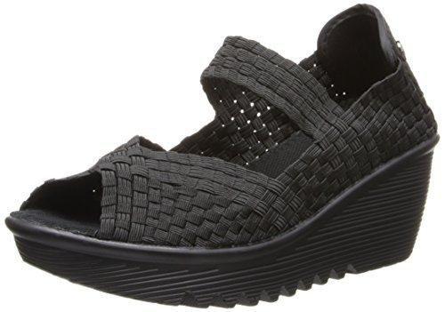 Bernie Mev Hallie Womens Casual Wedge Mary Jane Open Toe Shoes Halle-BLK Black 39 EUR