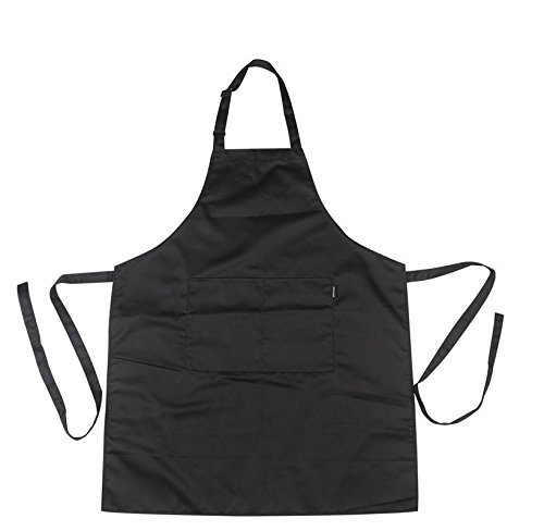 AliceInter Chef Kitchen Apron with Pockets for Cooking/Baking/Barbecuing (Black)