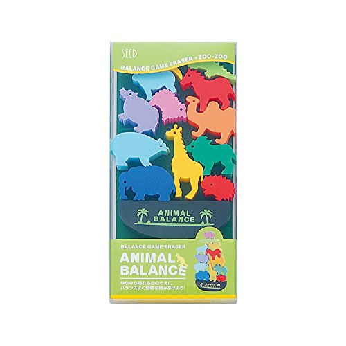 Seed Animal Balance Game Eraser Set - Zoo