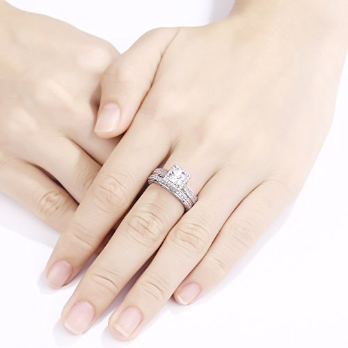 Newshe Princess White Cubic Zirconia Wedding Ring Set For Women 925 Sterling Silver Engagement Size (9) by Newshe Jewellery (Image #3)