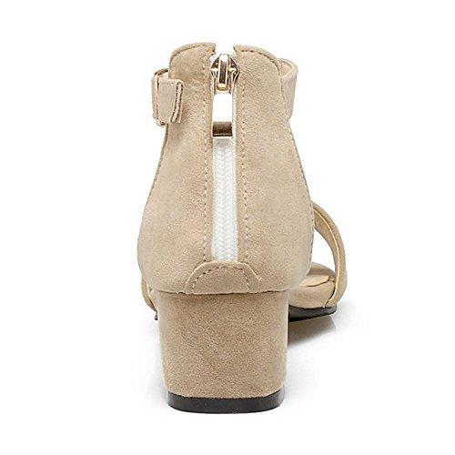 RAZAMAZA Mujer Moda Correa de tobillo Sandalias Tacon Ancho Cremallera Zapatos for Chicas Beige