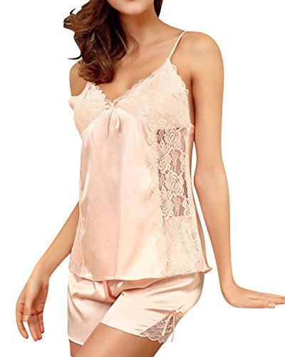 Mujer V-Cuello Cabestrillo Satin Camisole Pantalones Cortos Nightwear Pajamas Set Style 1