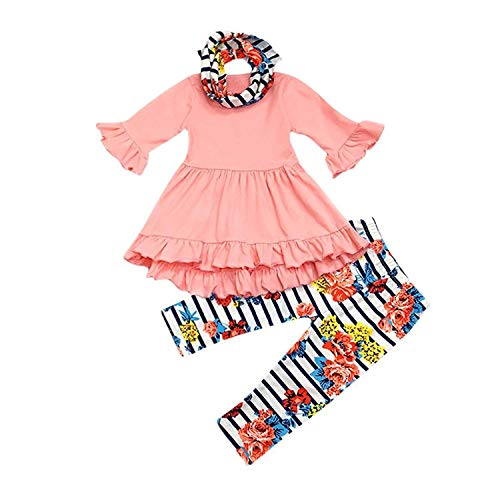 3Pcs Outfits Little Baby Girl Pink Long Sleeve Ruffle Dress T-Shirt Floral Pants Headband Scarf Sets (Pink, 6T)