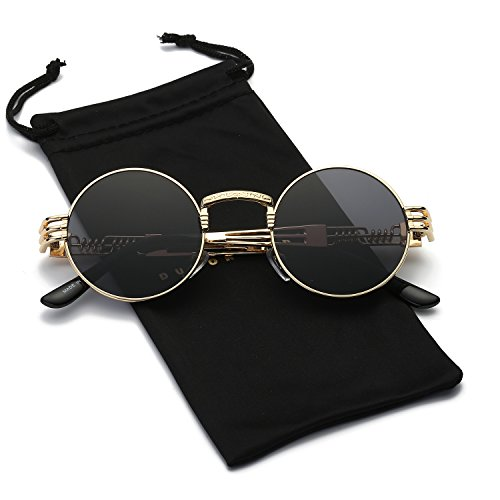 Dumok Round Metal Steampunk Vintage Circle Sunglasses DSR007 With Gold Frame/Grey Lens
