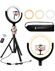 TaoTronics Selfie Ring Light with 61'' Tripod Stand 2 Phone Holders and Bluetooth Remote Control, Dimmable Led Camera Ring Light for Live Streaming, YouTube, Video, Make Up, Photography, 1 count